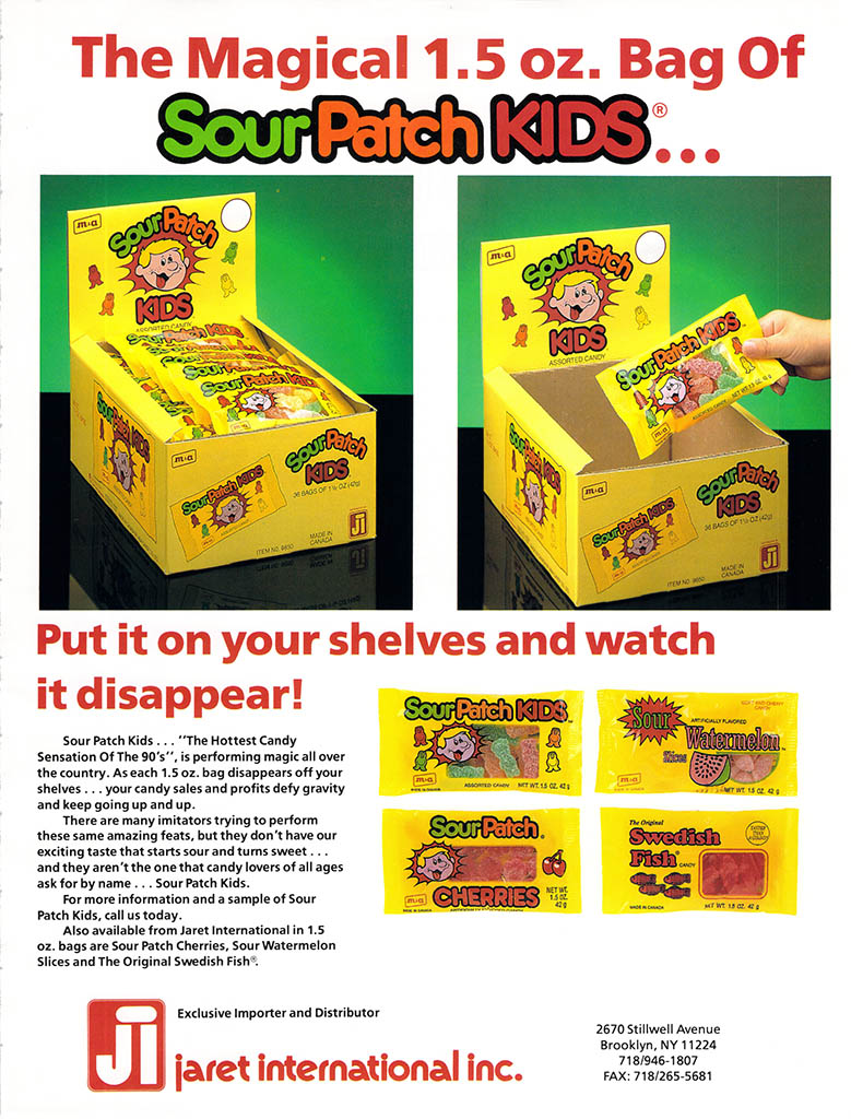 Jaret International - Sour Patch Kids - candy trade ad - May 1993