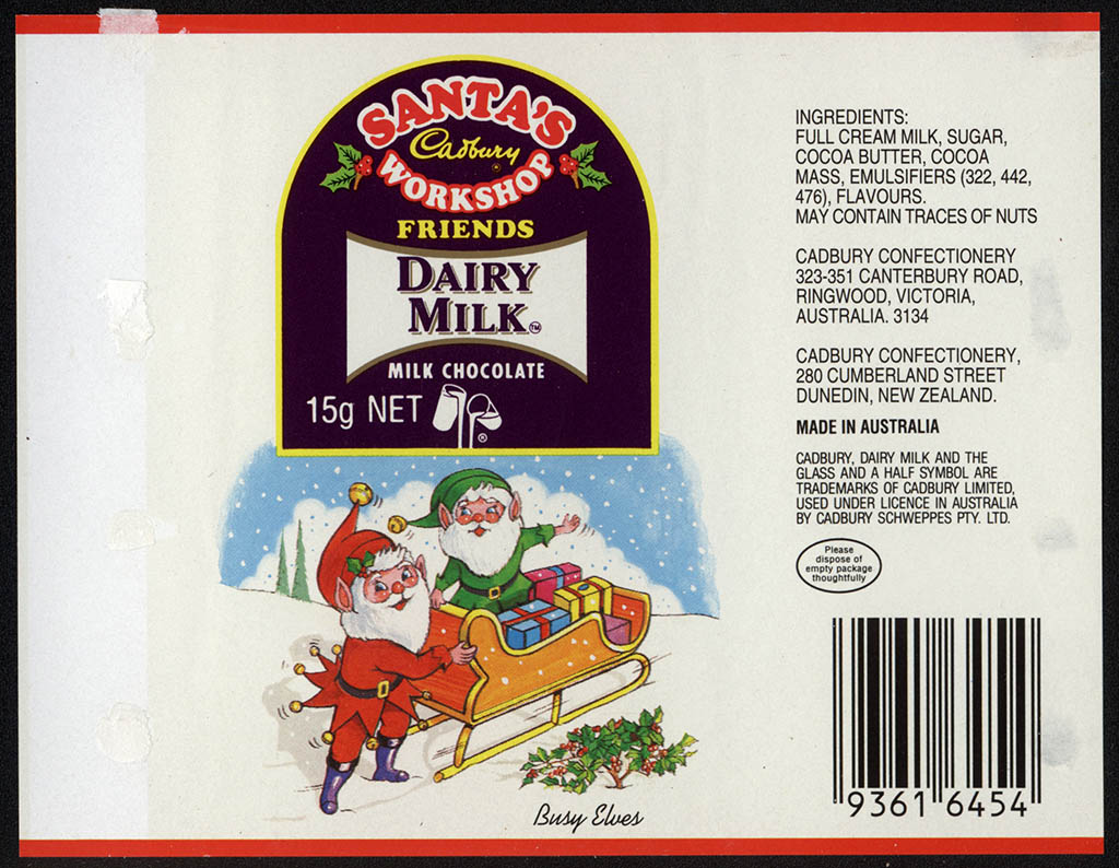 New Zealand - Cadbury - Santa's Workshop Dairy Milk - Busy Elves - chocolate bar wrapper - 1990's