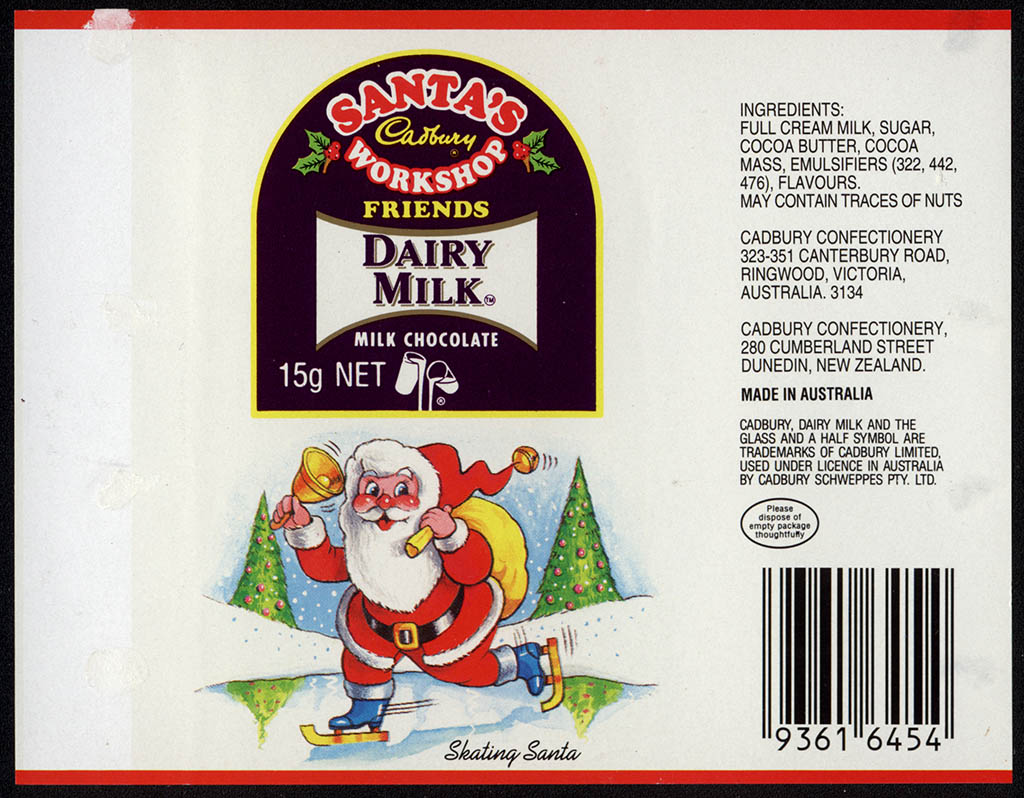 New Zealand - Cadbury - Santa's Workshop Dairy Milk - Skating Santa - chocolate bar wrapper - 1990's