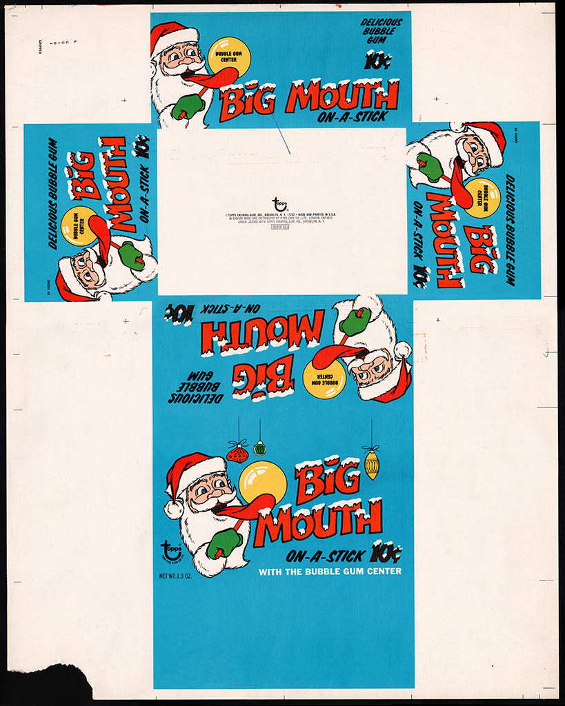 Topps - Big Mouth On-a-Stick bubble gum - Holiday display box flat - 1969