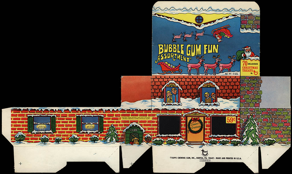 Topps - Christmas Bubble Gum Fun Assortment - 70-piece 59-cent bubble gum candy box file proof - 1969