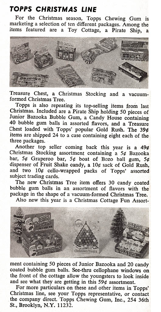 Topps Christmas candy and gum line - candy trade magazine announcement - September 1969