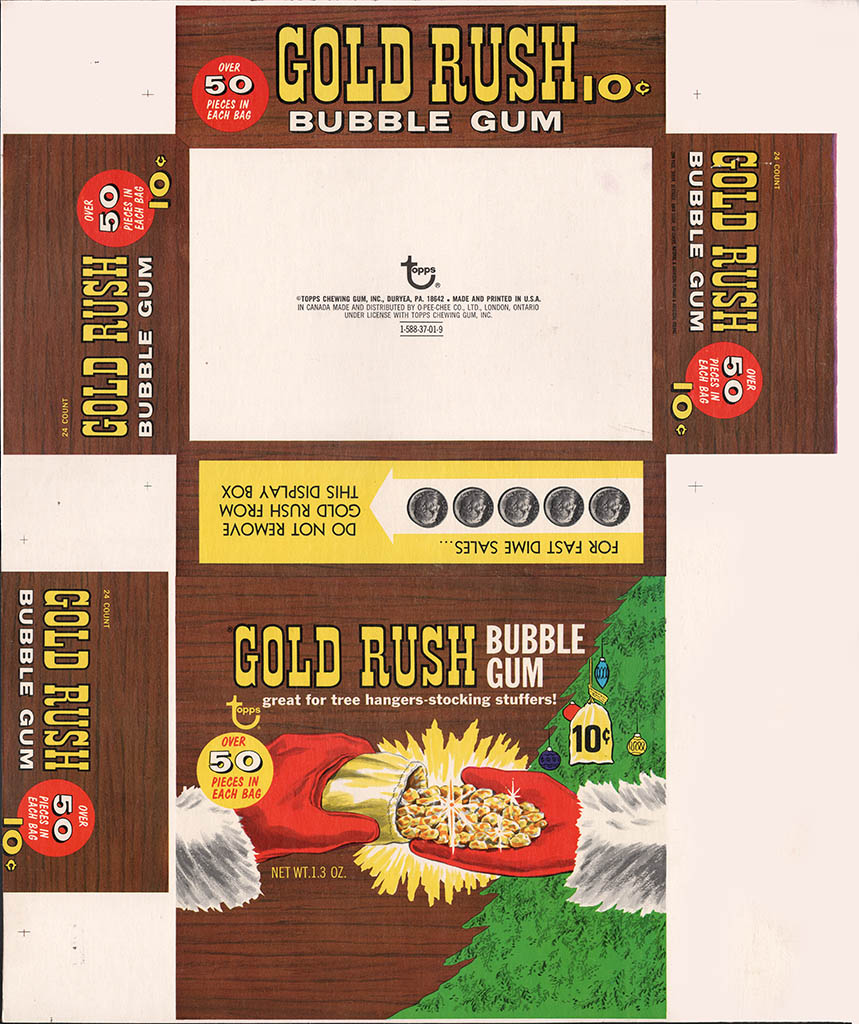 Topps - Gold Rush Bubble Gum - Box Flat - Christmas Holiday Variation - 1969