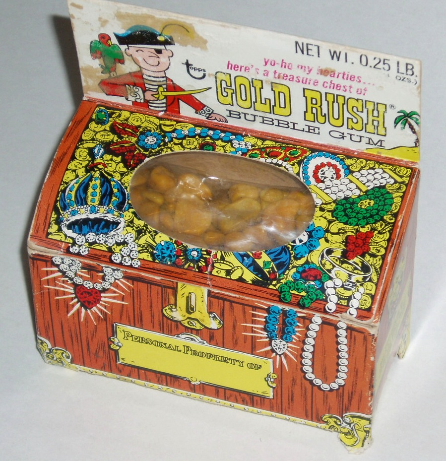 Topps Gold Rush bubble gum - Pirate Chest - holiday package - 1969 - Courtesy Dan Goodsell