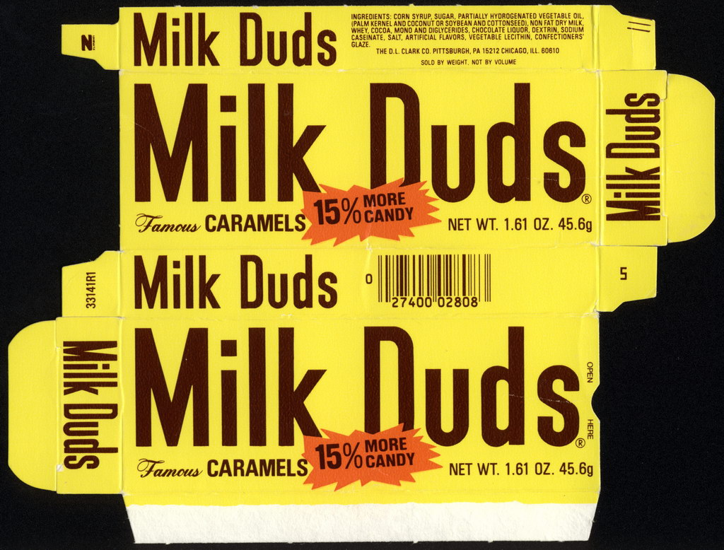 DL Clark - Milk Duds - 15% more candy - 1.61oz candy box - 1982
