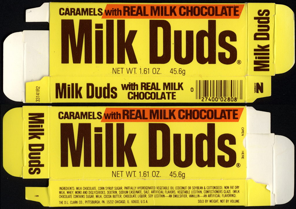 DL Clark - Milk Duds - Caramels with Real Milk Chocolate - 1.61 oz candy box - 1983