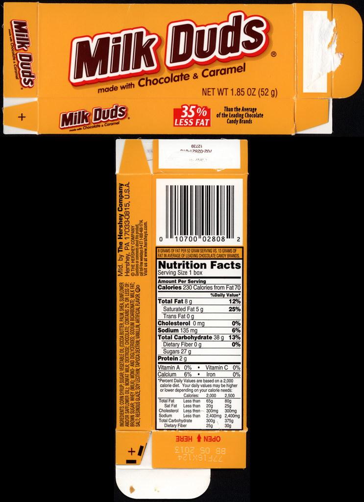 Hershey - Milk Duds - 1.85 oz candy box - 2012