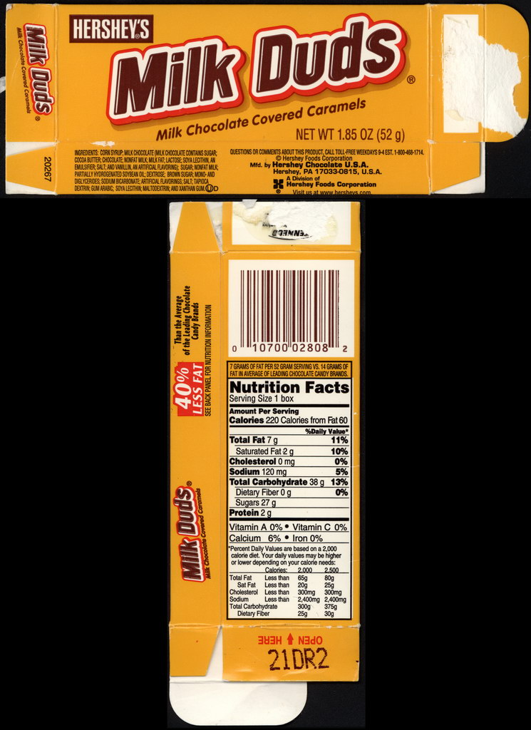 Hershey's - Milk Duds - 40-percent less fat - 1.85 oz candy box - Late 1990's Early 2000's