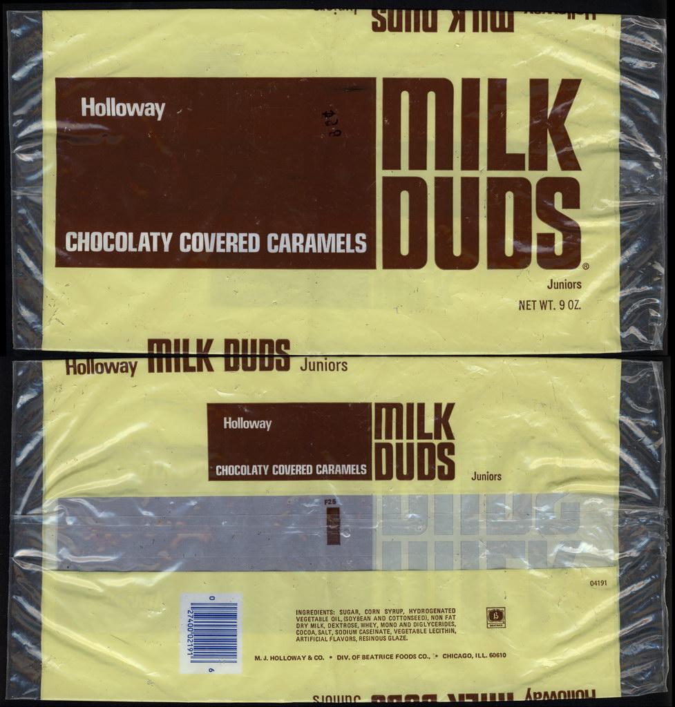 Holloway - Milk Duds Juniors - 9oz multi-pack candy bag - mid-1970's