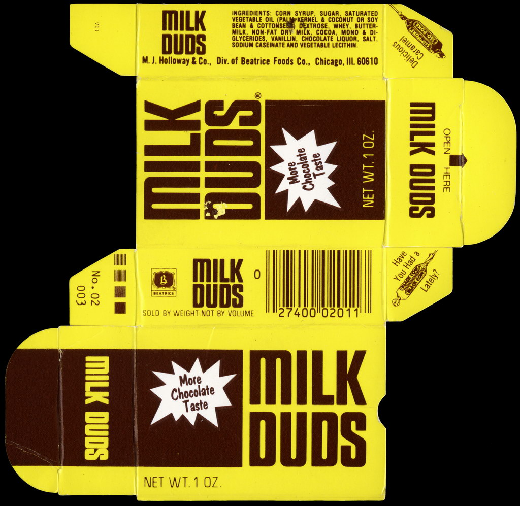 Holloway - Milk Duds - More Chocolate Taste - candy box - mid-1970's