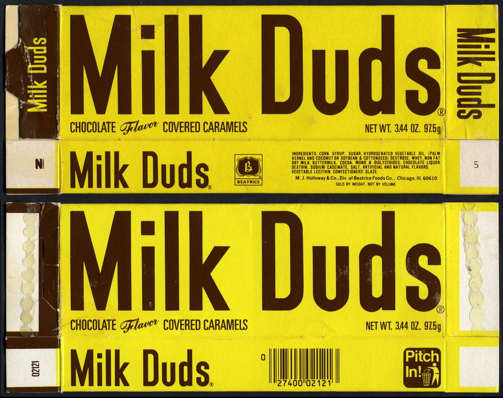 Beatrice - Holloway - Milk Duds long candy box - 1970's