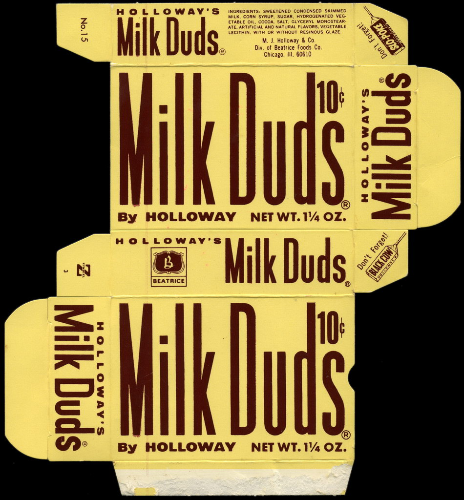 Holloway's - Milk Duds 10-cent  1 1 4 oz candy box - 1970's