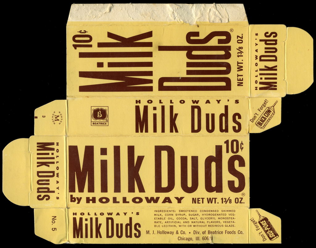 Holloway's - Milk Duds 10-cent  1 3_8 oz candy box - 1970's