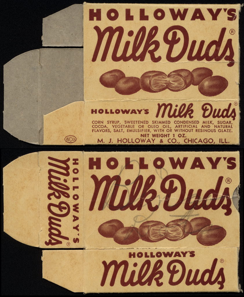Holloway's - Milk Duds - candy box - 1940's 1950's