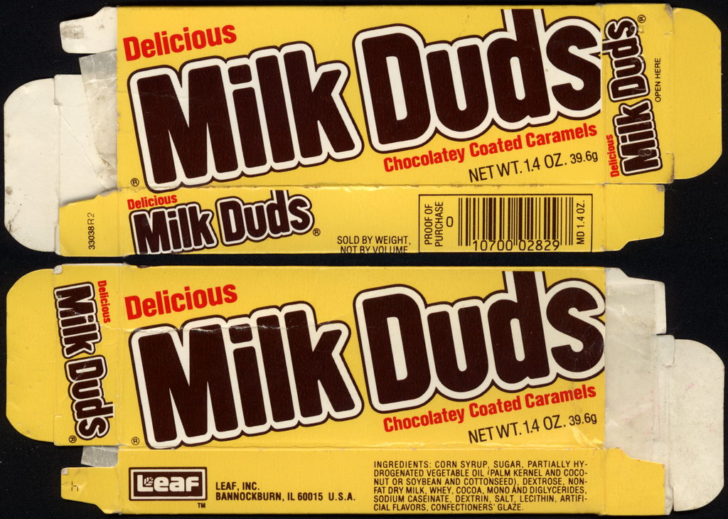 Leaf - Milk Duds - 1.4 oz candy box - late 1980's
