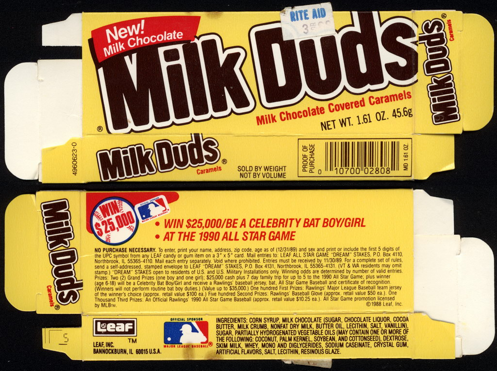 Leaf - Milk Duds - New Milk Chocolate - MLB All-Star Game - 1.61oz candy box - 1988-89