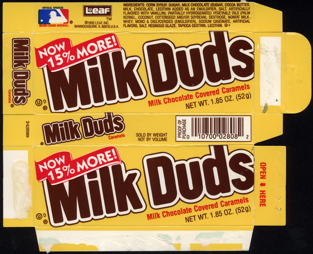 Leaf - Milk Duds - Now 15-percent more - 1.85 oz candy box - 1992