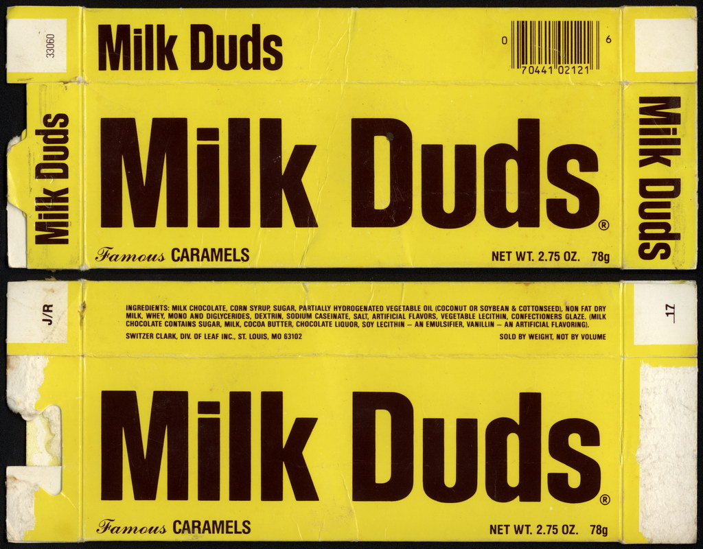 Leaf - Switzer-Clark - Milk Duds - Famous Caramels - 2.75 oz candy box - early-to-mid 1980's
