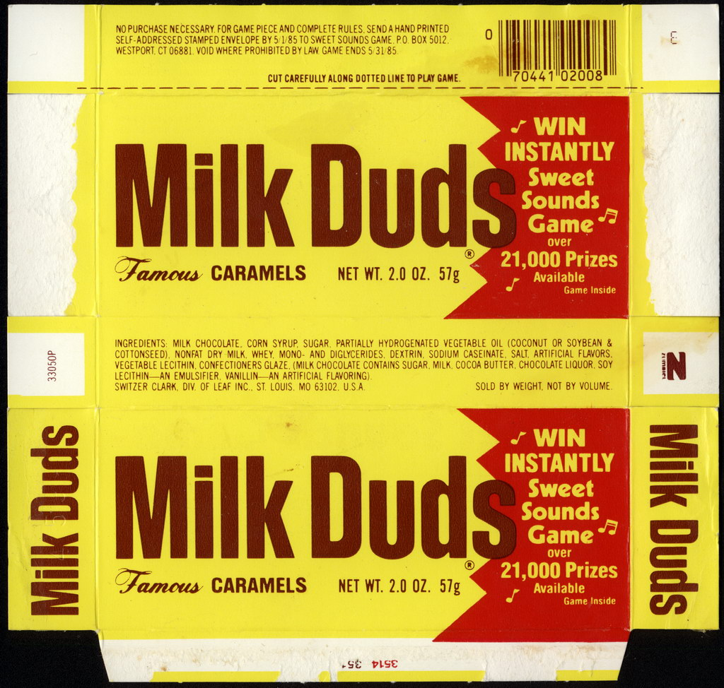 Leaf - Switzer-Clark - Milk Duds - Sweet Sounds Game - 2oz candy box - 1985