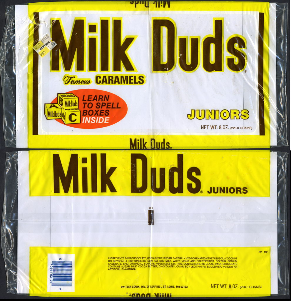 Milk Duds Famous Caramels Juniors - Learn to Spell Boxes - candy bag - 1970's or 1980's