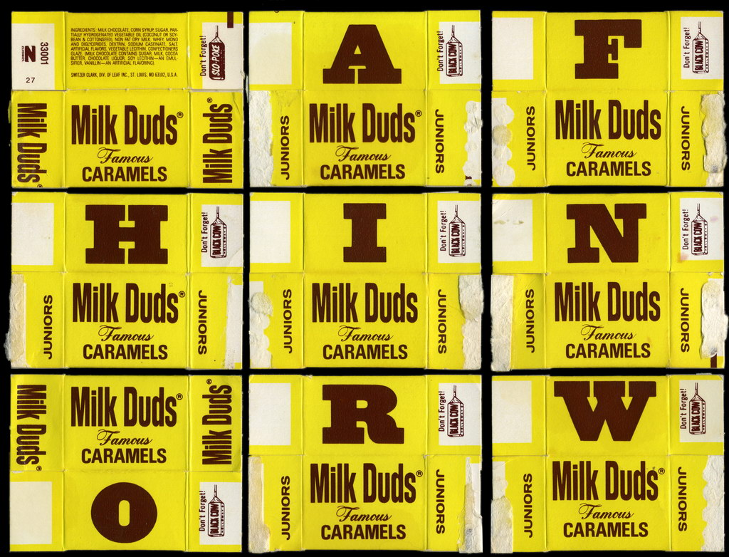 Milk Duds Juniors - Learn to Spell boxes - 1970's 1980's