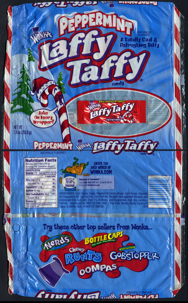 Nestle - Wonka - Laffy Taffy Peppermint candy bag & wrapper - 2000's