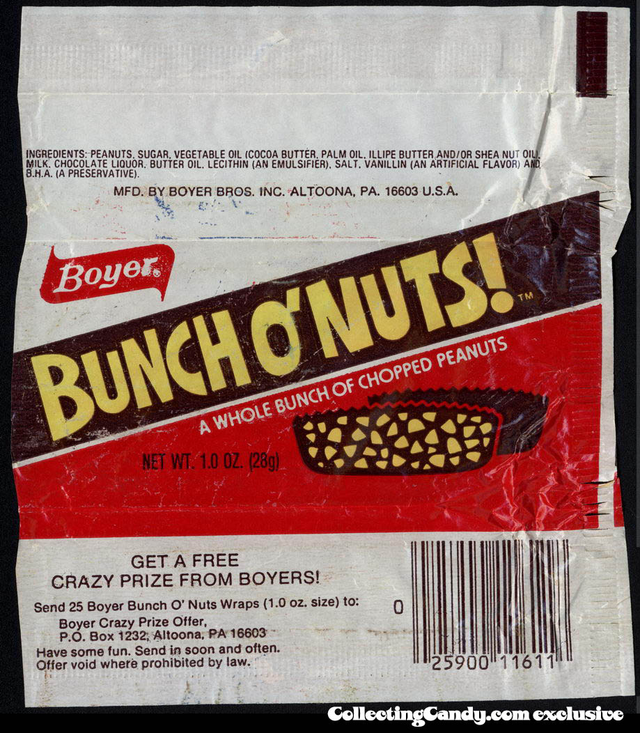 Boyer - Bunch O' Nuts! - crazy prize offer - candy wrapper - circa 1980-1982