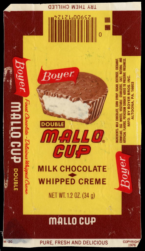 Boyer - Double Mallo Cup - candy wrapper - circa 1976-77
