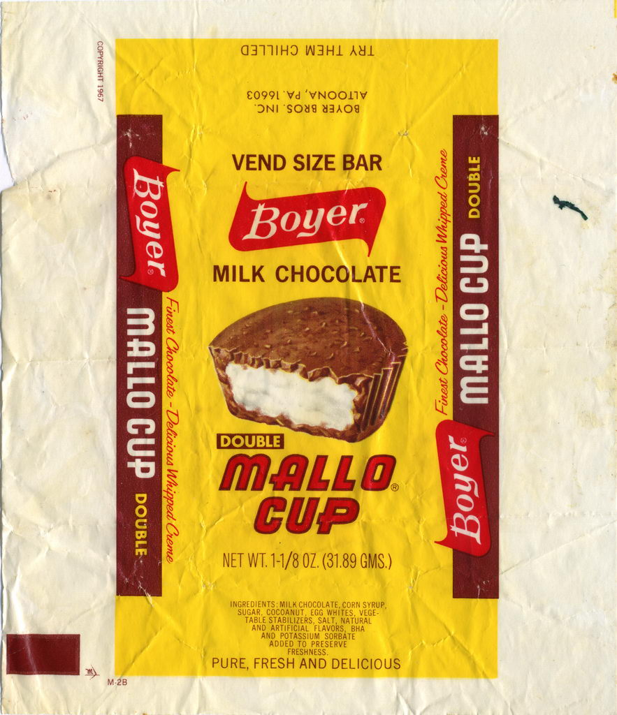 Boyer - Double Mallo Cup vend size candy bar wrapper - (c) 1967