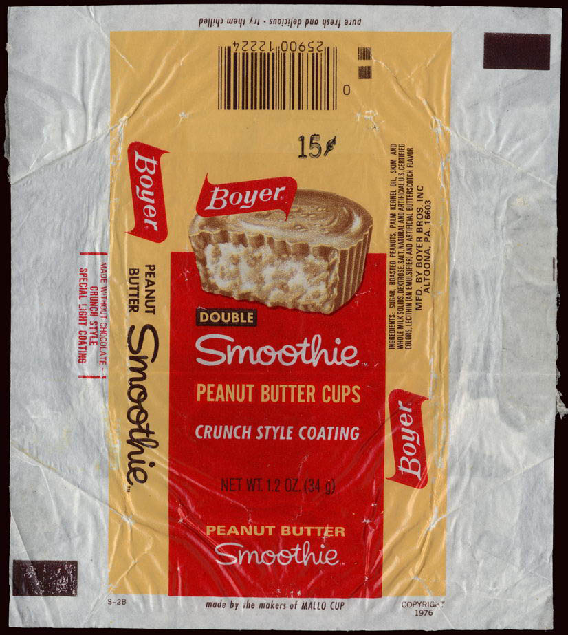Boyer - Double Smoothie -  peanut butter cups - candy wrapper - 1976-77