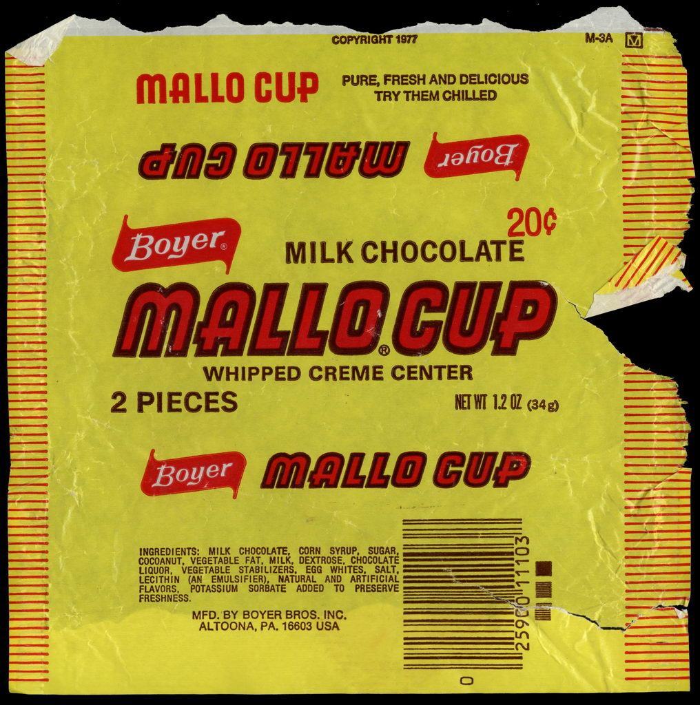 Boyer - Mallo Cup - 20-cent candy wrapper - circa 1977-80