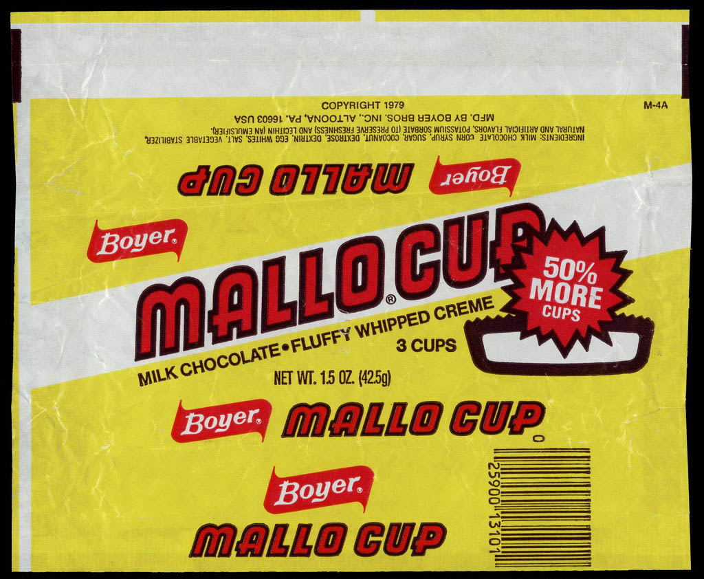 Boyer - Mallo Cup - 50 percent more cups - candy wrapper - circa 1980-1982