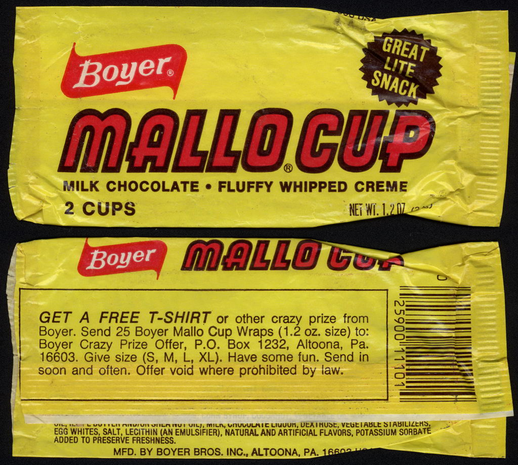 Boyer - Mallo Cup - Great Lite Snack - Free t-shirt - candy wrapper -  circa 1978