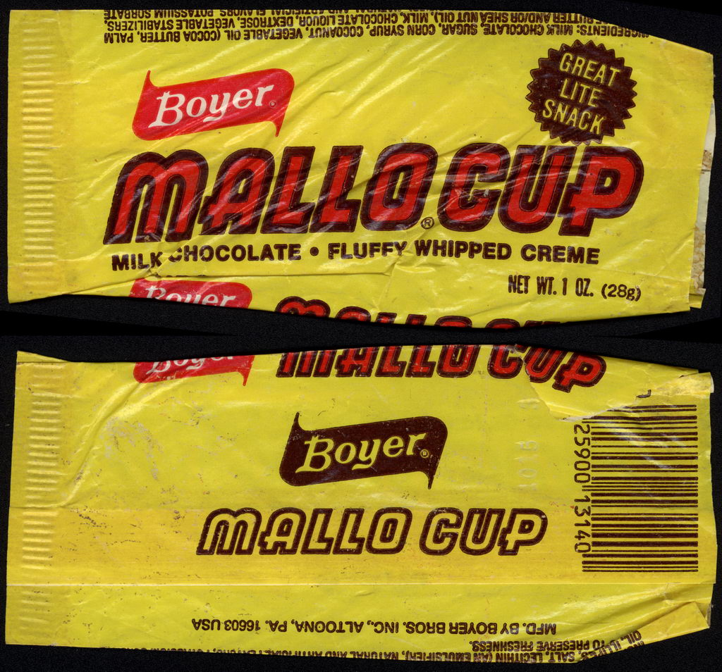 Boyer - Mallo Cup - Great Lite Snack - candy wrapper - circa 1978