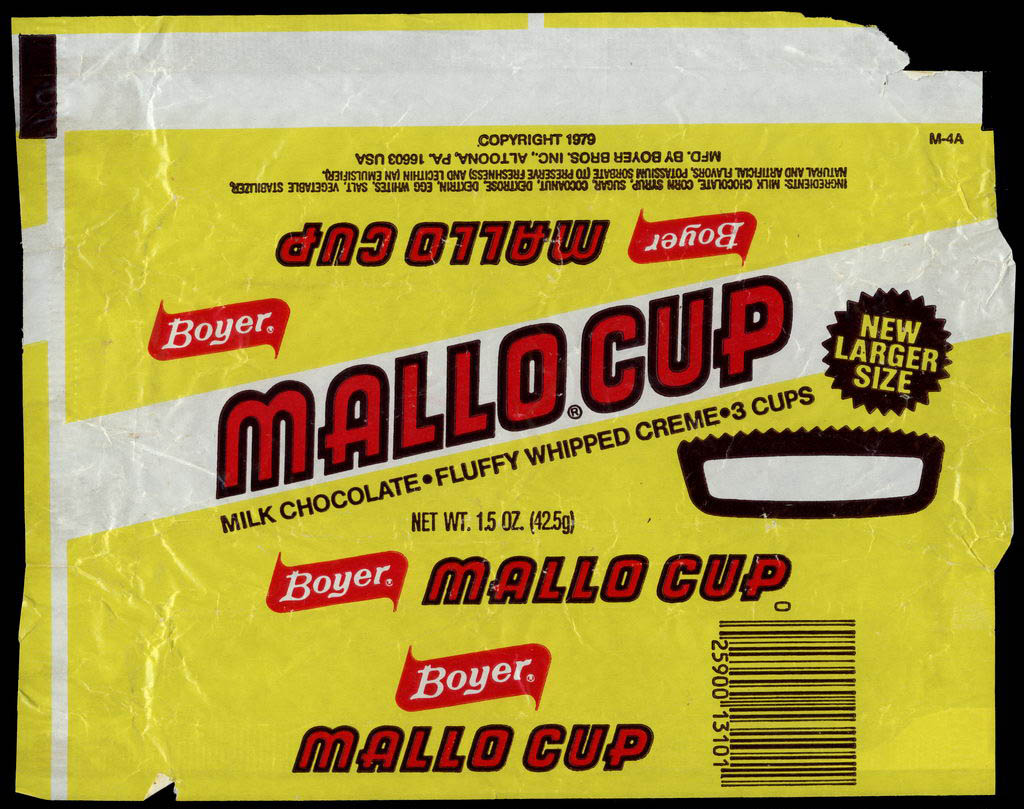 Boyer - Mallo Cup - New Larger Size - candy wrapper - circa 1980-1982