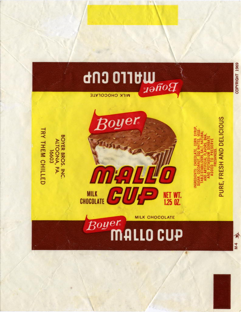 Boyer - Mallo Cup candy bar wrapper - 1970's