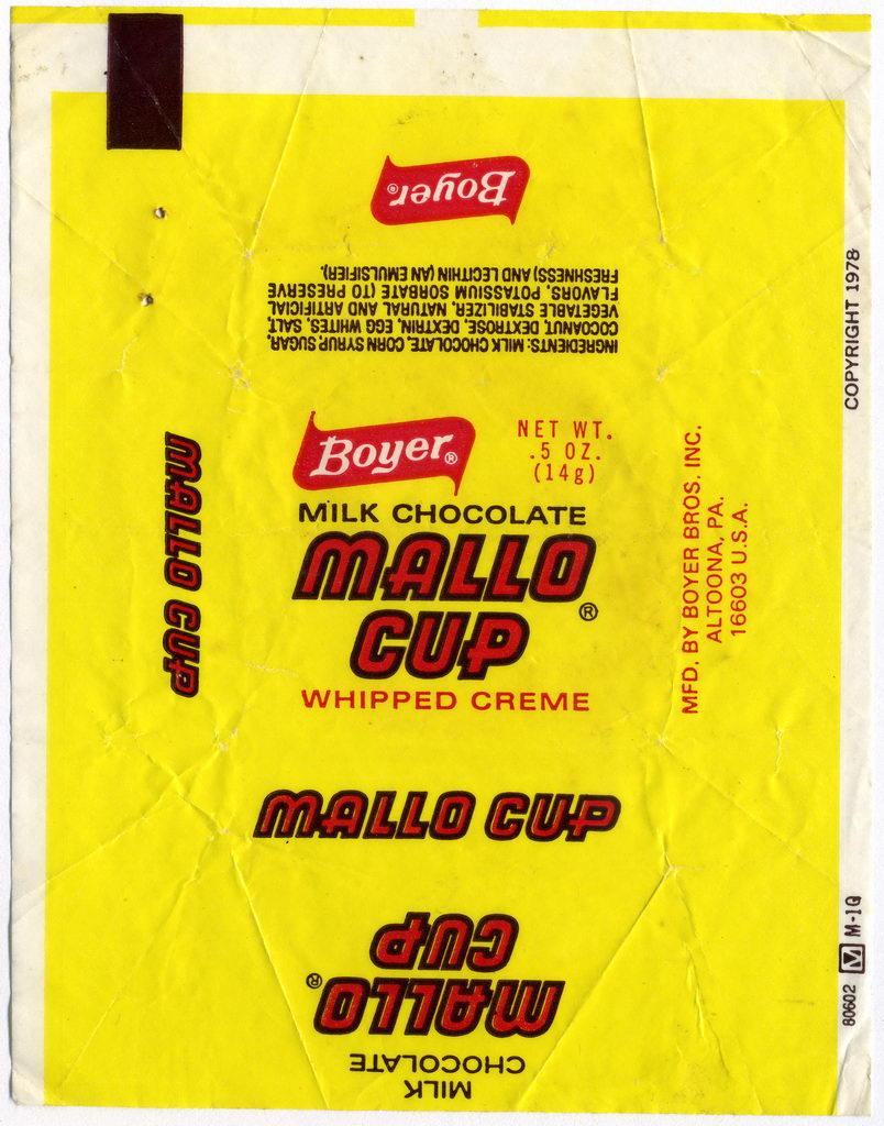 Boyer - Mallo Cup single candy wrapper - 1978