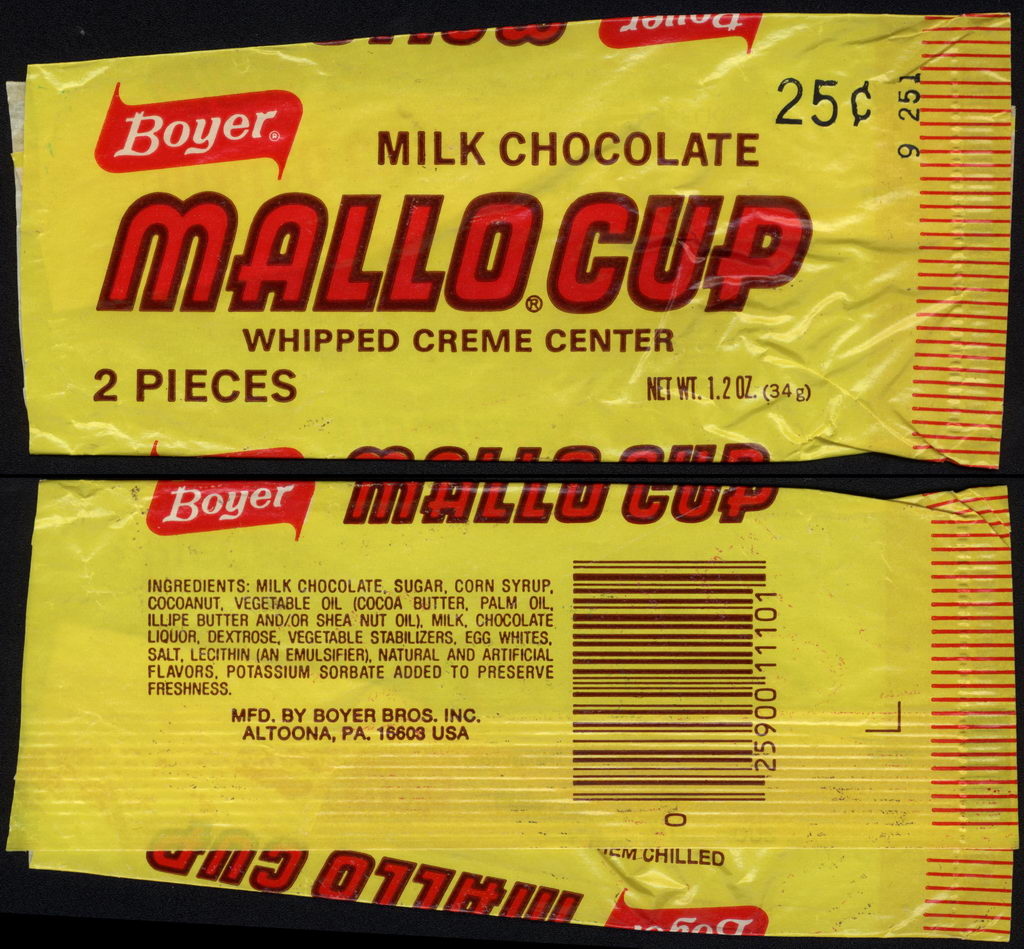 Boyer - Mallo Cup - whipped creme center - candy wrapper -  circa 1978