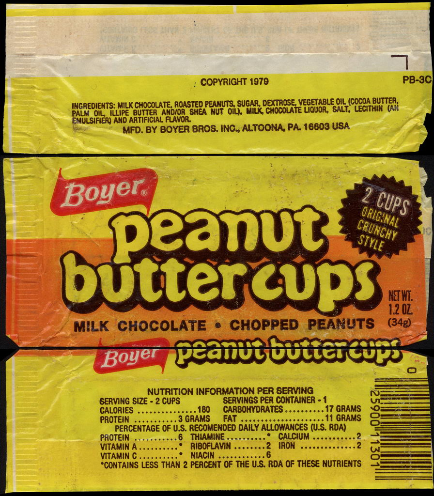 Boyer - Milk Chocolate Peanut Butter Cups - Nutrition Information - candy wrapper - 1979