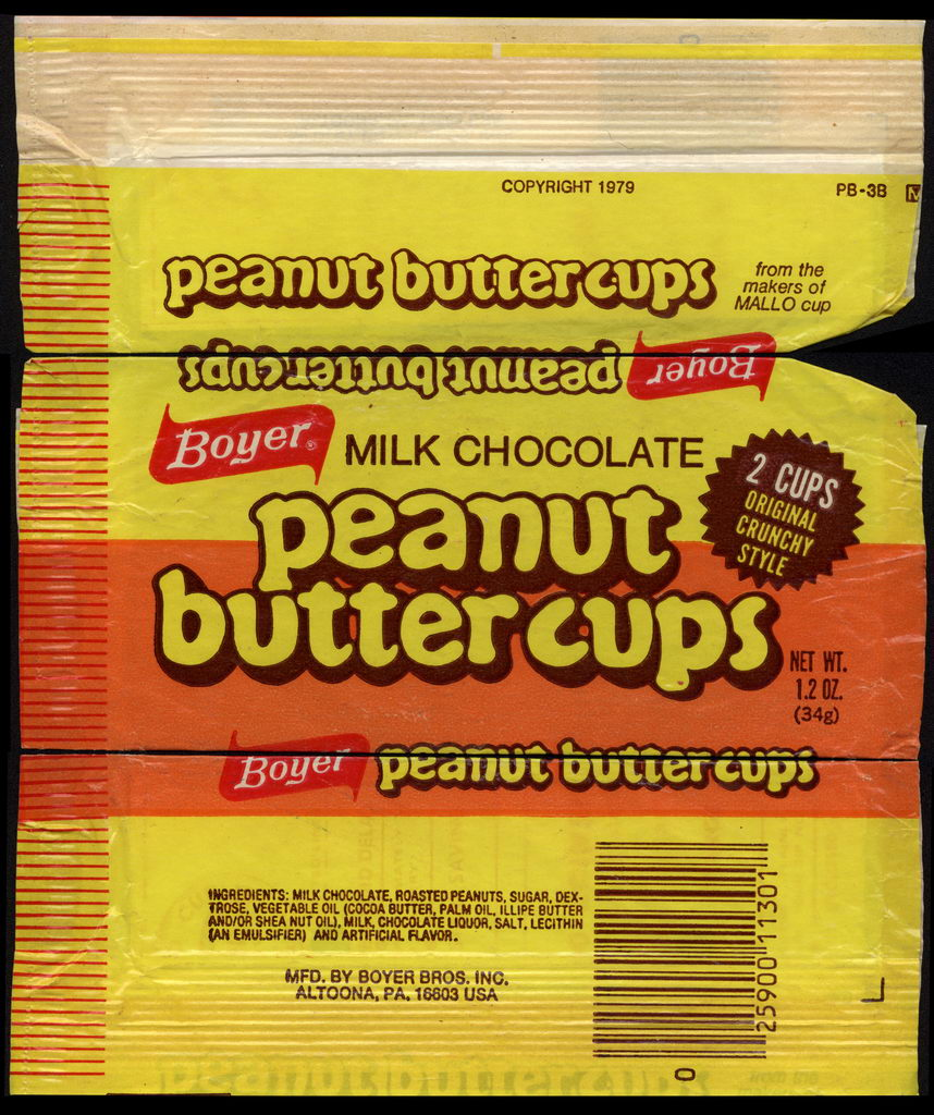 Boyer - Milk Chocolate Peanut Butter Cups - candy wrapper - 1979