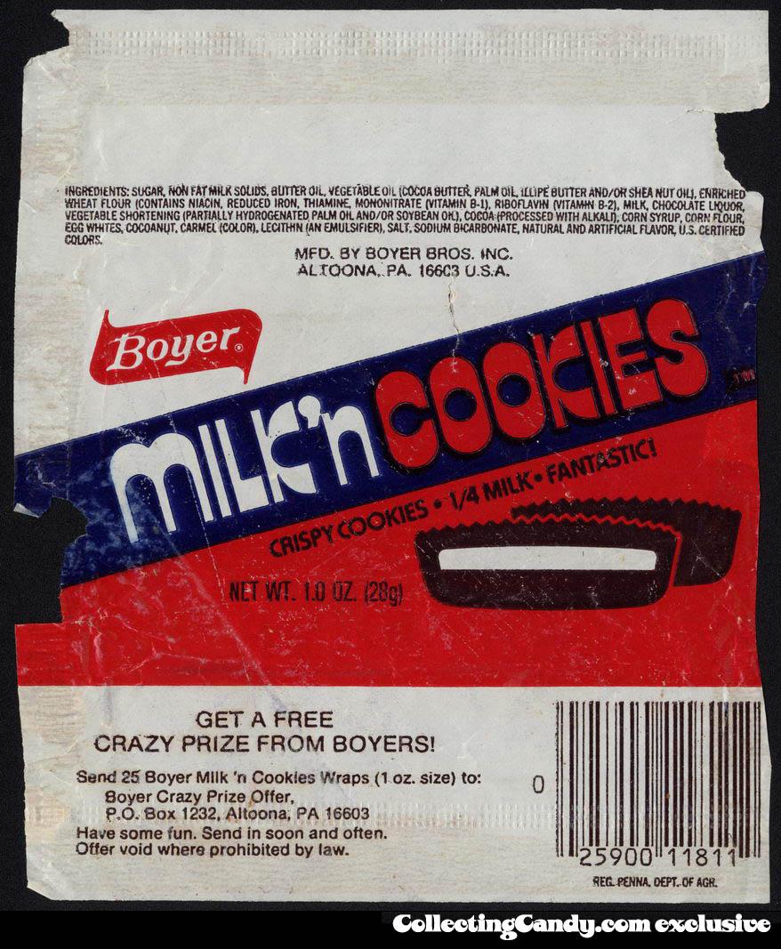 Boyer - Milk'n Cookies - crispy cookies - 1-4 Milk - fantastic - candy wrapper - circa 1980-1982