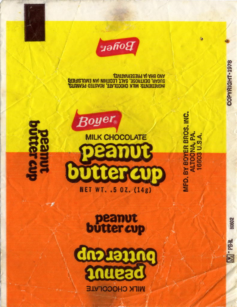 Boyer - Peanut Butter Cup single candy wrapper - 1978