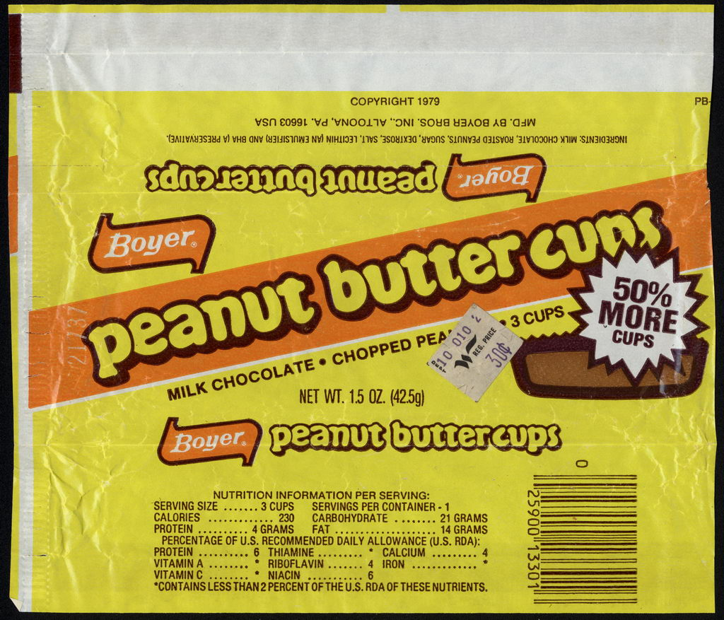 Boyer - Peanut Butter Cups - 3 cups - candy wrapper - circa 1980-1984