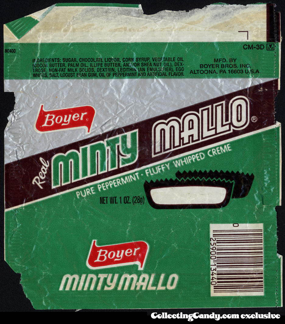 Boyer - Real Minty Mallo - pure peppermint - fluffy whipped creme - candy wrapper - circa 1981