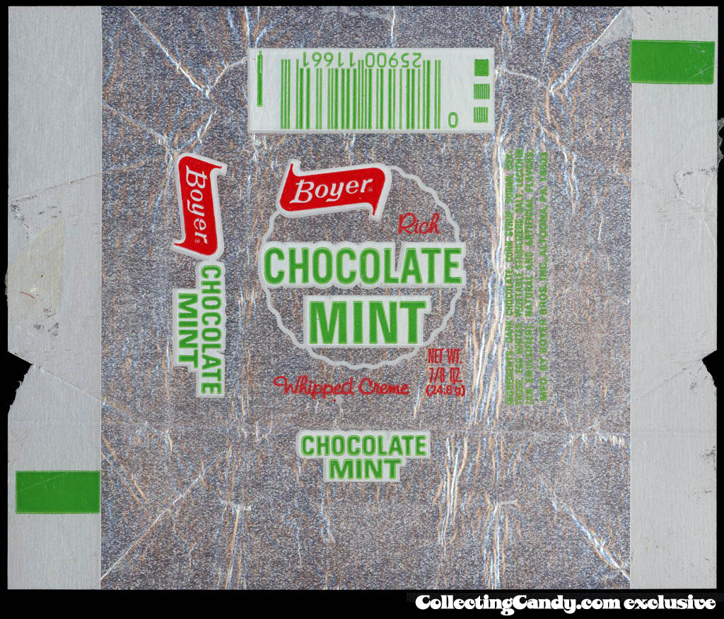 Boyer - Rich Chocolate Mint - foil candy wrapper - circa 1976-77