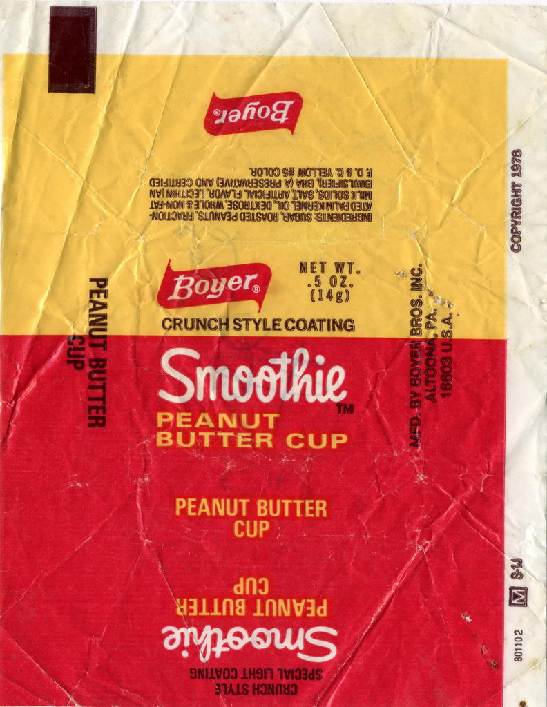 Boyer - Smoothe Peanut Butter Cup single candy wrapper - 1978