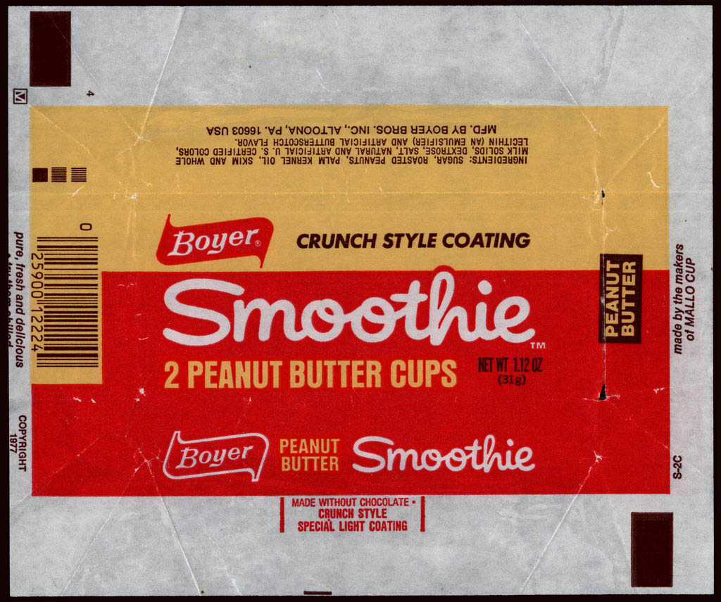 Boyer - Smoothie - 2 peanut butter cups - candy wrapper - 1977