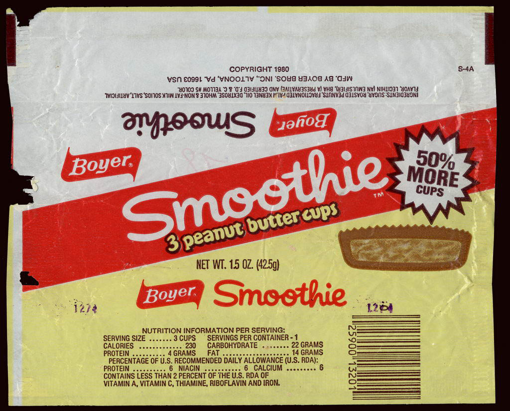 Boyer - Smoothie - 3 peanut butter cups - candy wrapper - circa 1980-1982