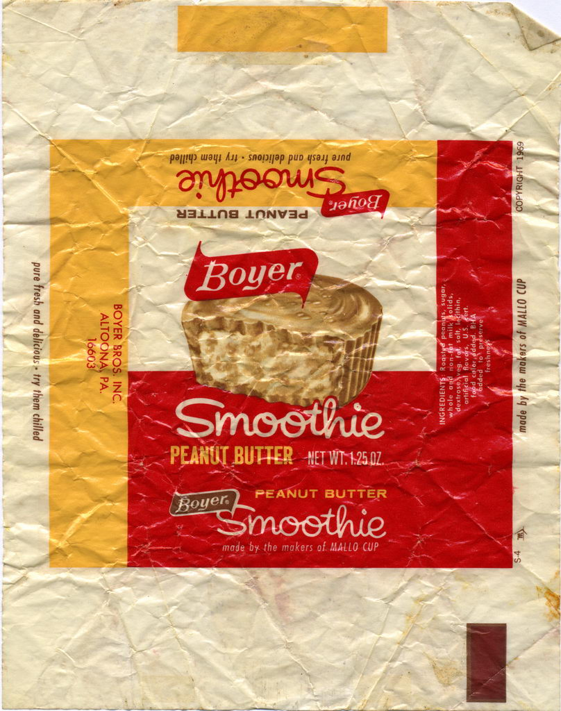 Boyer - Smoothie Peanut Butter Cup candy wrapper - (c) 1969