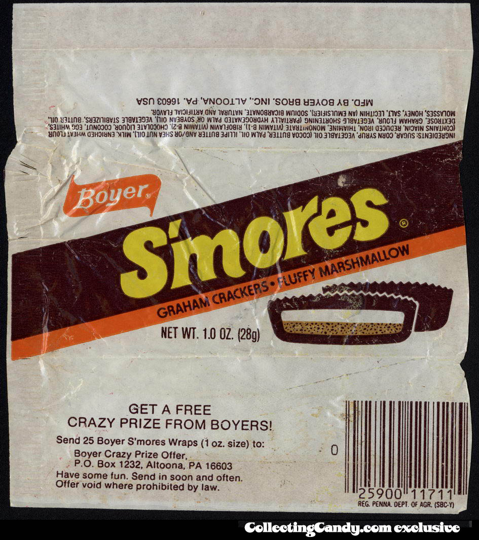 Boyer - S'mores - graham crackers - fluffy marshamallow - candy wrapper - circa 1980-1982